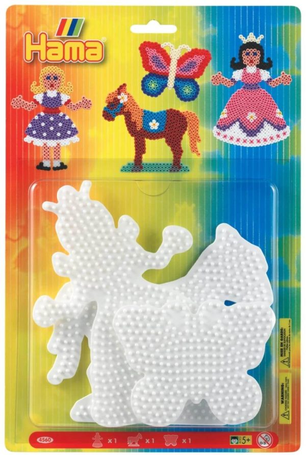 Hama Beads Large Peg Boards Princess, Horse & Butterfly