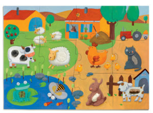 Djeco DJ7117 Tactile Puzzle Farm 12pc