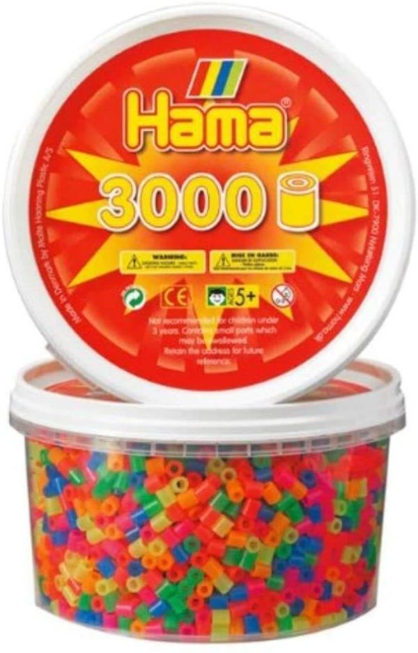 Hama Beads Mixed Neon Bead Tub (3000 Piece)