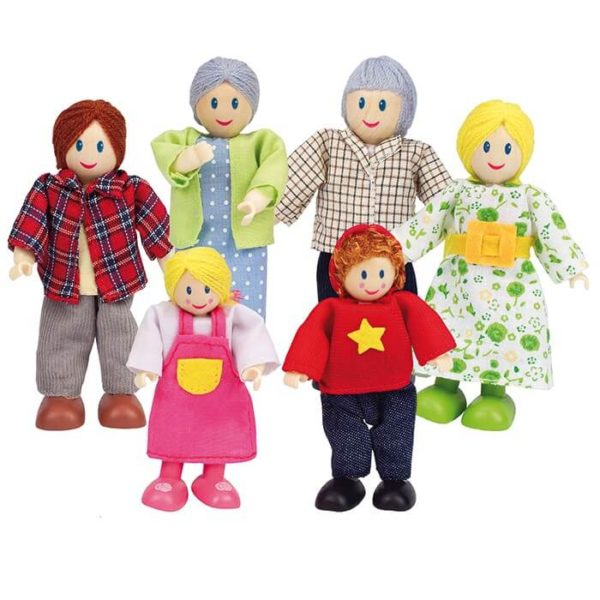Hape Dolls Caucasian Family 6 Figures