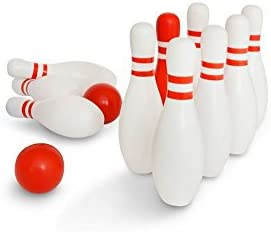 BS Toys Red & White Wooden Bowling Set