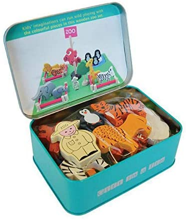Apples to Pears Zoo in a Tin Wooden Play Set