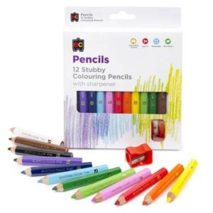 Stubby Coloured Pencils & Sharpener 12pk