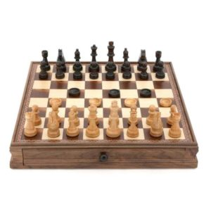 Dal Rossi Chess/Checkers Set with Draws Walnut 38cm
