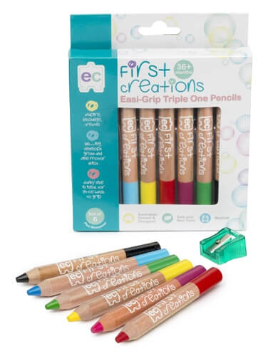 First Creations Easi-Grip Watercolour Pencils 6pack
