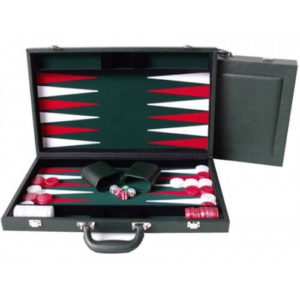 Dal Rossi Backgammon Leather/Green Felt 38cm