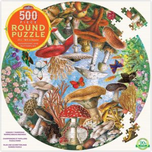 eeBoo Mushrooms & Butterflies Round Puzzle 500pc