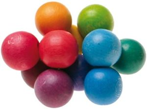 Grimms Coloured Wooden Beads Grasper Baby Toy