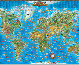 Blue Opal Giant Map Puzzle Around the World 300pc