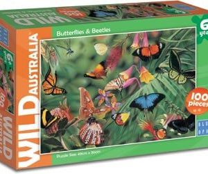Blue Opal Butterflies and Beetles 100pc Puzzle