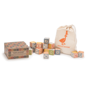 Uncle Goose Wooden 28 ABC Classic Blocks with Canvas Bag