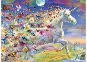Ravensburger Brilliant Unicorn and Butterflies Puzzle 500pc with 55 Decorating Gems