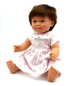 Baby Girl Brunette Short Hair With Down Syndrome Features 40cm
