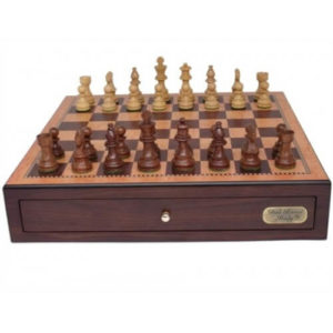 Dal Rossi Chess Box Walnut Finish With 85mm Wooden Pc