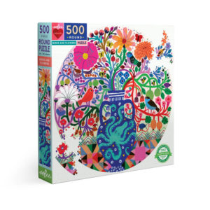 Eeboo Birds And Flowers Round Puzzle 500pc
